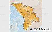 Political Shades 3D Map of Moldova, lighten