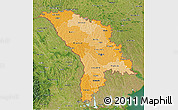 Political Shades 3D Map of Moldova, satellite outside