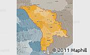 Political Shades 3D Map of Moldova, semi-desaturated