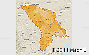 Political Shades 3D Map of Moldova, shaded relief outside