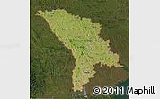 Satellite 3D Map of Moldova, darken