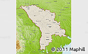 Shaded Relief 3D Map of Moldova, physical outside