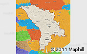 Shaded Relief 3D Map of Moldova, political outside