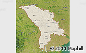Shaded Relief 3D Map of Moldova, satellite outside