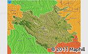 Satellite 3D Map of Chisinau, political outside