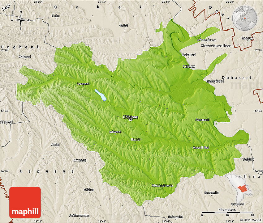 Physical Map of Chisinau shaded relief outside