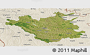Satellite Panoramic Map of Chisinau, shaded relief outside