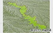 Physical Panoramic Map of Dubasari, semi-desaturated