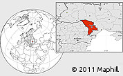 Blank Location Map of Moldova, highlighted continent