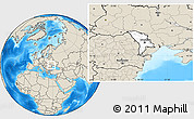 Blank Location Map of Moldova, shaded relief outside