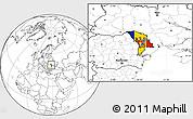 Flag Location Map of Moldova, blank outside