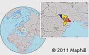 Flag Location Map of Moldova, gray outside