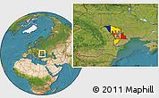 Flag Location Map of Moldova, satellite outside