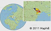 Flag Location Map of Moldova, savanna style outside