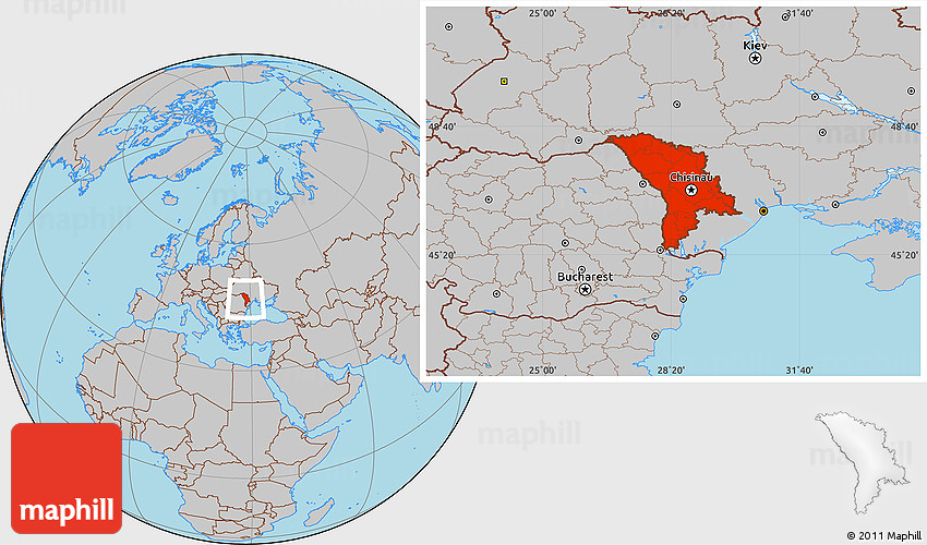 Gray Location Map of Moldova