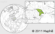 Physical Location Map of Moldova, blank outside