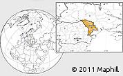 Political Location Map of Moldova, blank outside