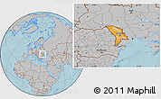 Political Location Map of Moldova, gray outside, hill shading