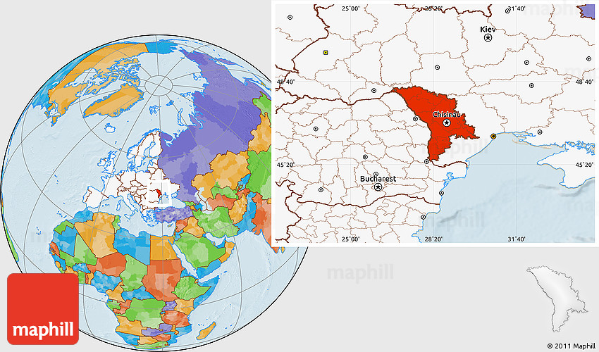 Political Location Map of Moldova highlighted continent