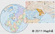 Political Location Map of Moldova, lighten, land only