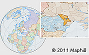 Political Location Map of Moldova, lighten