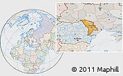 Political Location Map of Moldova, lighten, semi-desaturated