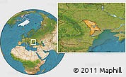 Political Location Map of Moldova, satellite outside