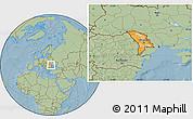 Political Location Map of Moldova, savanna style outside, hill shading