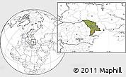 Satellite Location Map of Moldova, blank outside