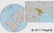 Satellite Location Map of Moldova, gray outside, hill shading