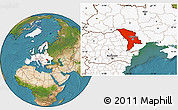 Satellite Location Map of Moldova, highlighted continent