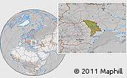 Satellite Location Map of Moldova, lighten, desaturated