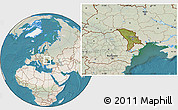 Satellite Location Map of Moldova, lighten, land only