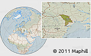 Satellite Location Map of Moldova, lighten