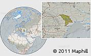 Satellite Location Map of Moldova, lighten, semi-desaturated