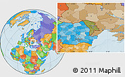 Satellite Location Map of Moldova, political outside