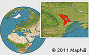 Satellite Location Map of Moldova