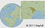 Satellite Location Map of Moldova, savanna style outside, hill shading