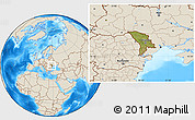 Satellite Location Map of Moldova, shaded relief outside
