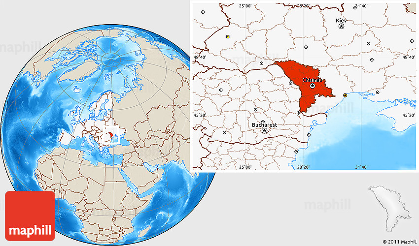 Shaded Relief Location Map of Moldova highlighted continent