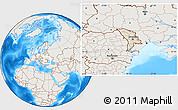 Shaded Relief Location Map of Moldova, lighten, land only
