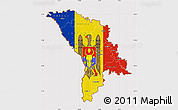 Flag Map of Moldova