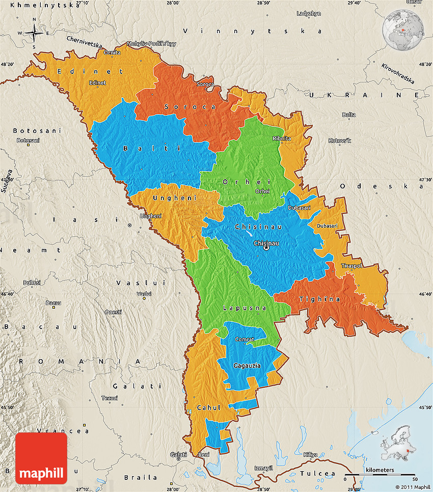 Political Map Of Moldova Shaded Relief Outside - Moldova map