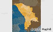 Political Shades Map of Moldova, darken