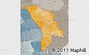 Political Shades Map of Moldova, semi-desaturated