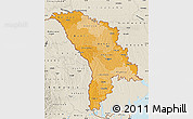 Political Shades Map of Moldova, shaded relief outside