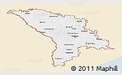Classic Style Panoramic Map of Moldova, single color outside