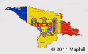 Flag Panoramic Map of Moldova, flag centered