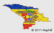 Flag Panoramic Map of Moldova, flag aligned to the middle