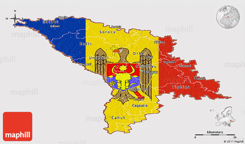 Flag Panoramic Map Of Moldova - Moldova map